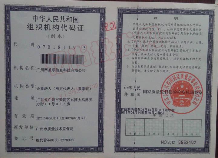 亿尚批发网组织机构代码证